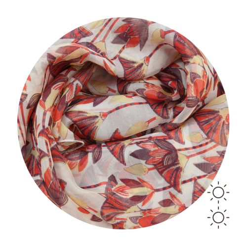 Woman-silk-printed-scarf-lotus-flowers-red-coral-1A