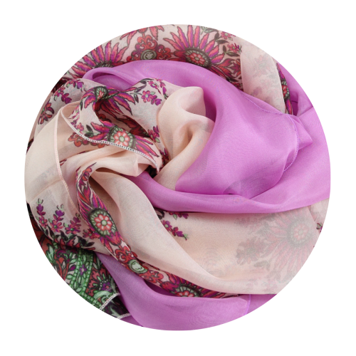 Stole pink cashmere printed silk made in France