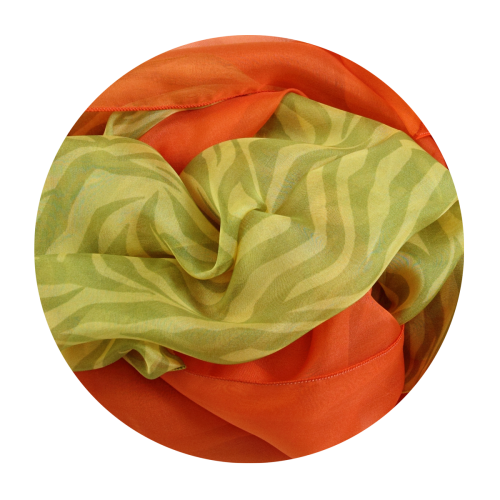 silk scarf printed stripes yellow green plain orange made in France