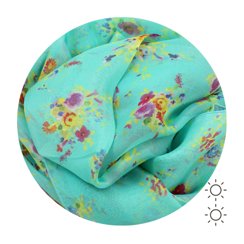 Woman-silk-printed-stole-flowers-green-turquoise-1A
