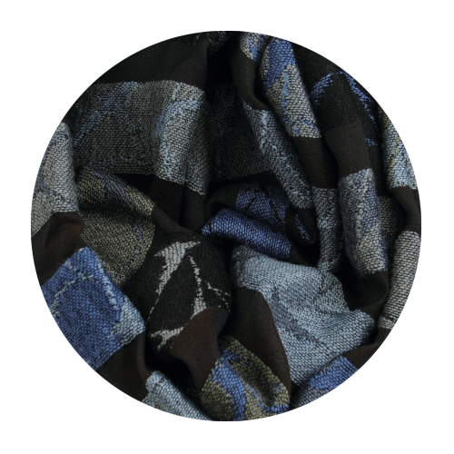 Scarf-Swallow-wool-merino-silk-cotton factory-en-France-brown-blue