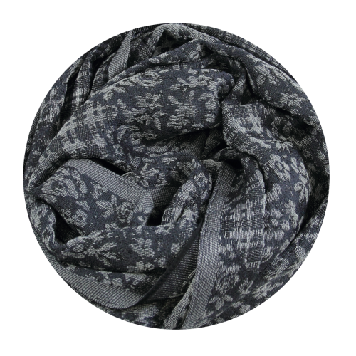 STOLE MERINO WOOL COTTON SILK HOLLYWOCK GREY