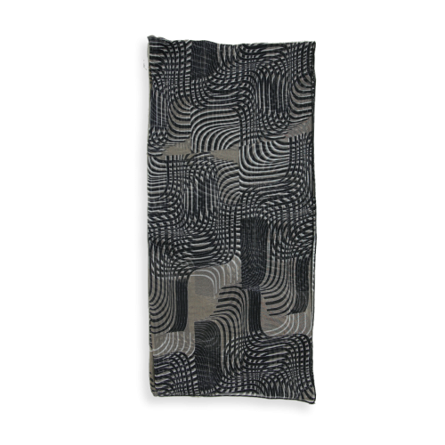Scarf-woman-optical-silk-black-beige-4A